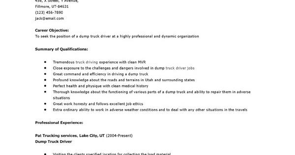 resume sles dump truck driver resume