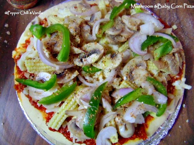 Veg Pizza/Mushroom  Baby Corn Pizza Recipe. Pepper, Chilli and