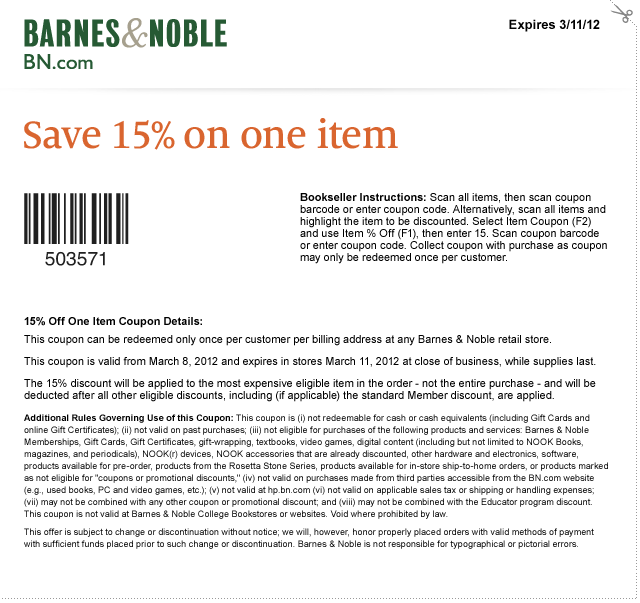 Barnes and nobles coupon codes