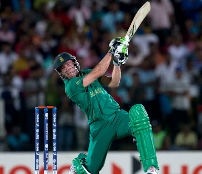 South African Skipper AB de Villiers 30 (13) play a shot, South Africa vs Sri Lanka at Hambantota ICC T20 World Cup 2012 7th match on 22nd September 2012