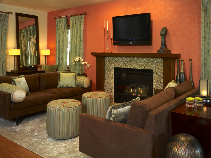 Modern furniture 2013 transitional living room decorating for Orange and brown living room ideas