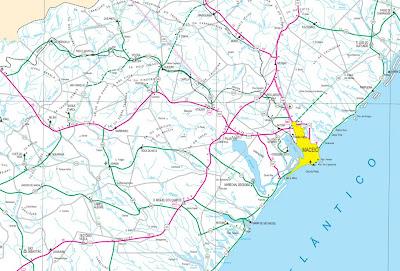Mapa rodoviário da região de Maceió - AL