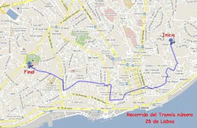 mapa del recorrido del Tramvía de Lisboa