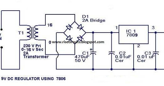 9 Volt Power Supply Circuit Diagram Using Ic 7809 Super