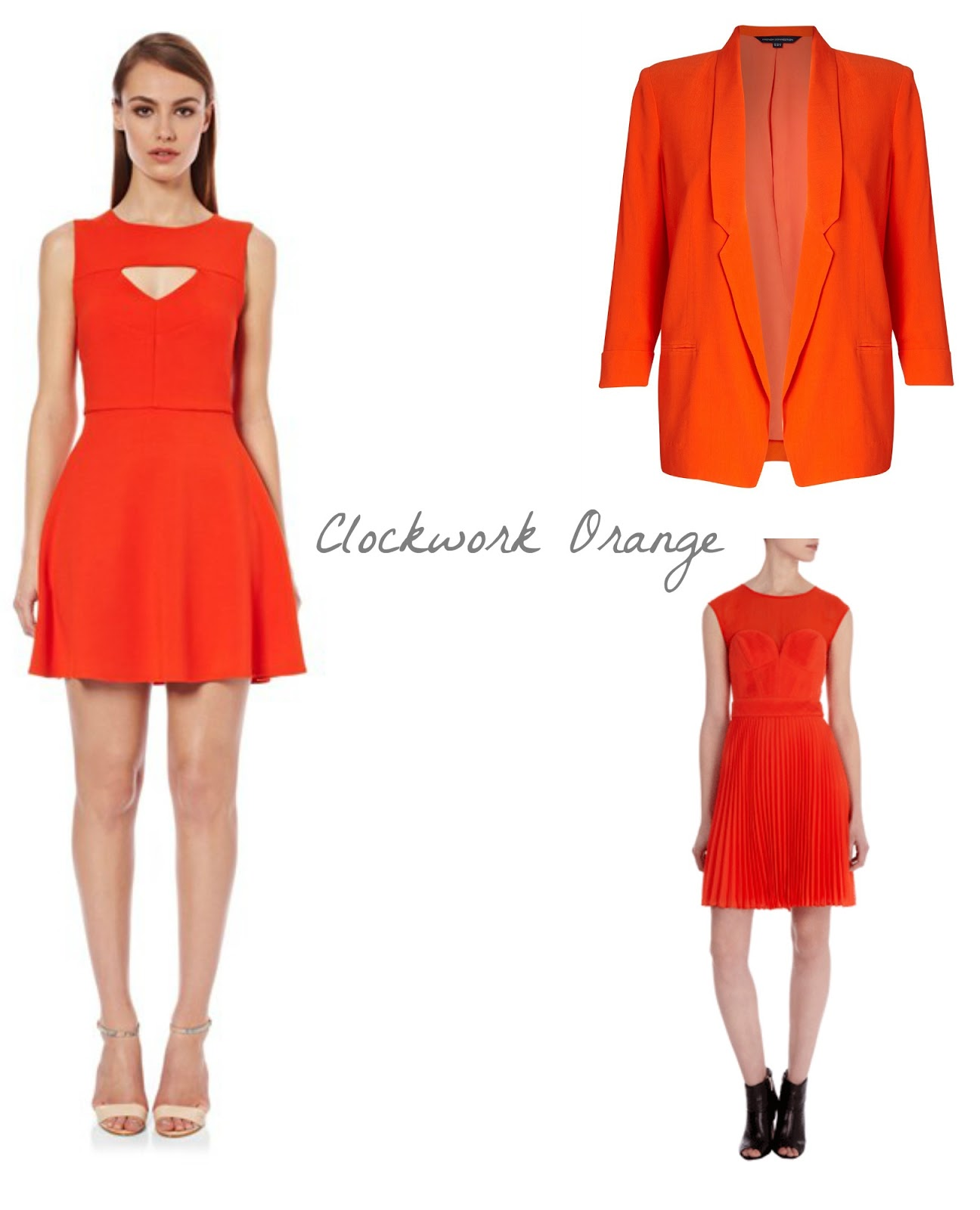 Orange fashion from Karen Millen and FCUK