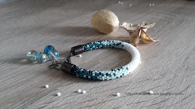 Crochet bead bracelet of tiny beads Toho