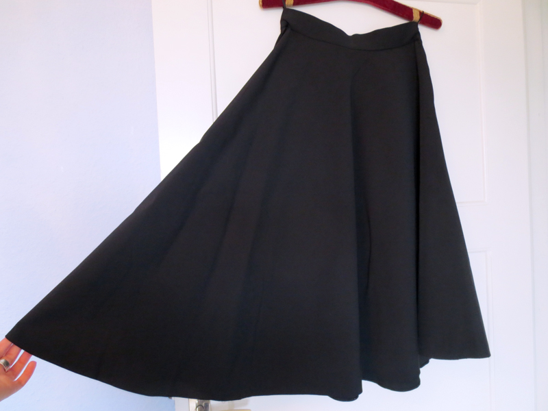 1950's black silk faille 3/4-circle skirt