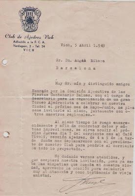 Carta del Club Ajedrez Vich en 1949