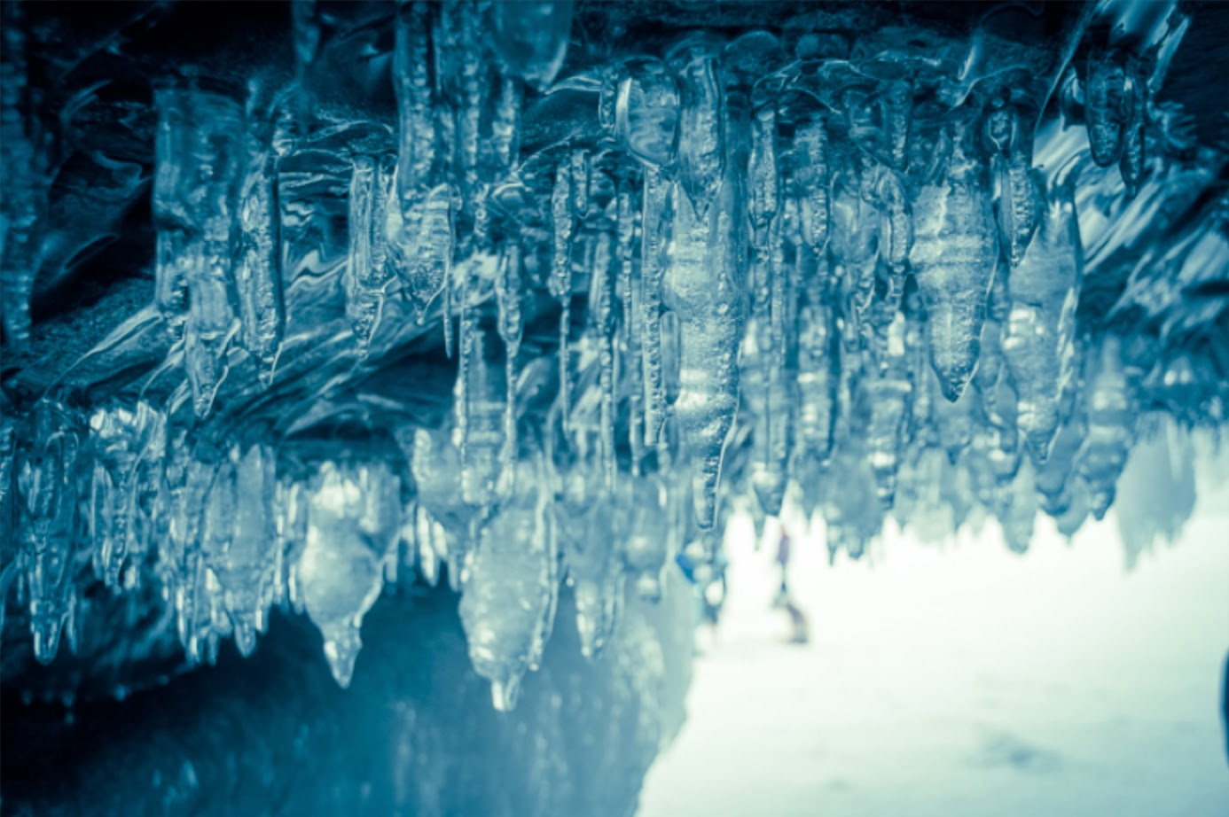 Icicles on ceiling of cave