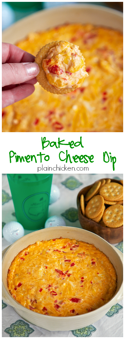 Baked Pimento Cheese Dip Recipe - perfect for The Masters. Cheddar, Parmesan, Roasted Red Peppers, Cream Cheese baked into an ooey, gooey cheesy dip. Great with Ritz cracker, celery or Fritos.