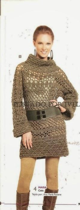 Vestido crochet de mangas largas