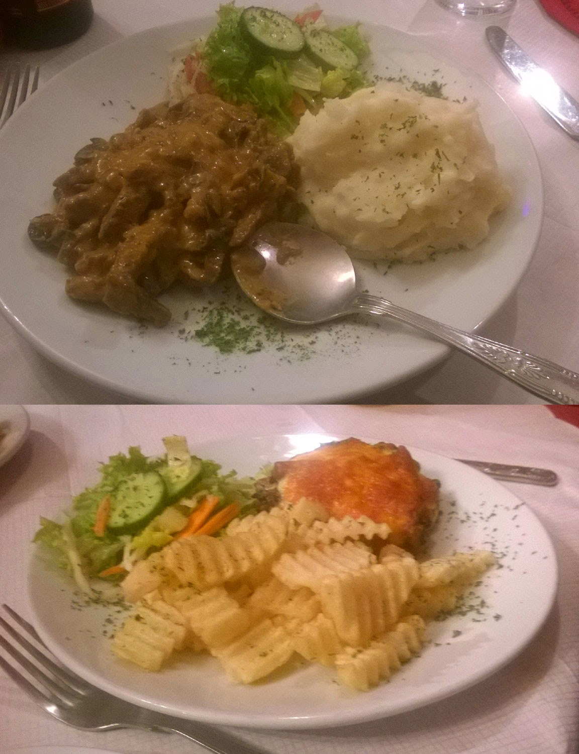 My dinner and hers at the Russian place
