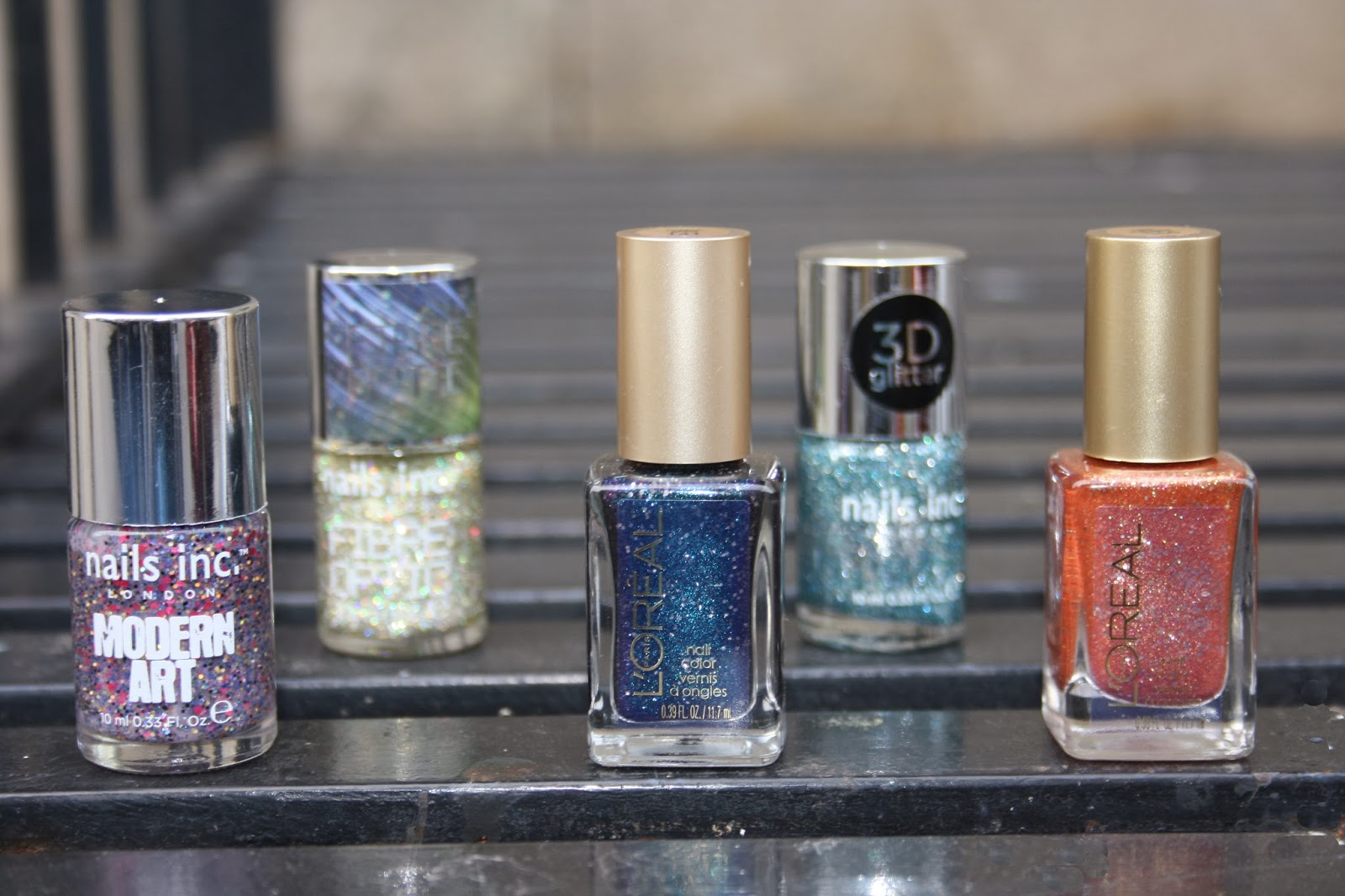left: Nails Inc. Modern Art, Loreal Hidden Gems, Loreal I Like It Chunky