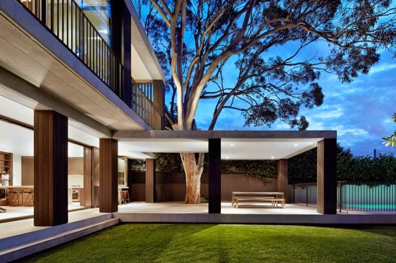 modern home design with tree