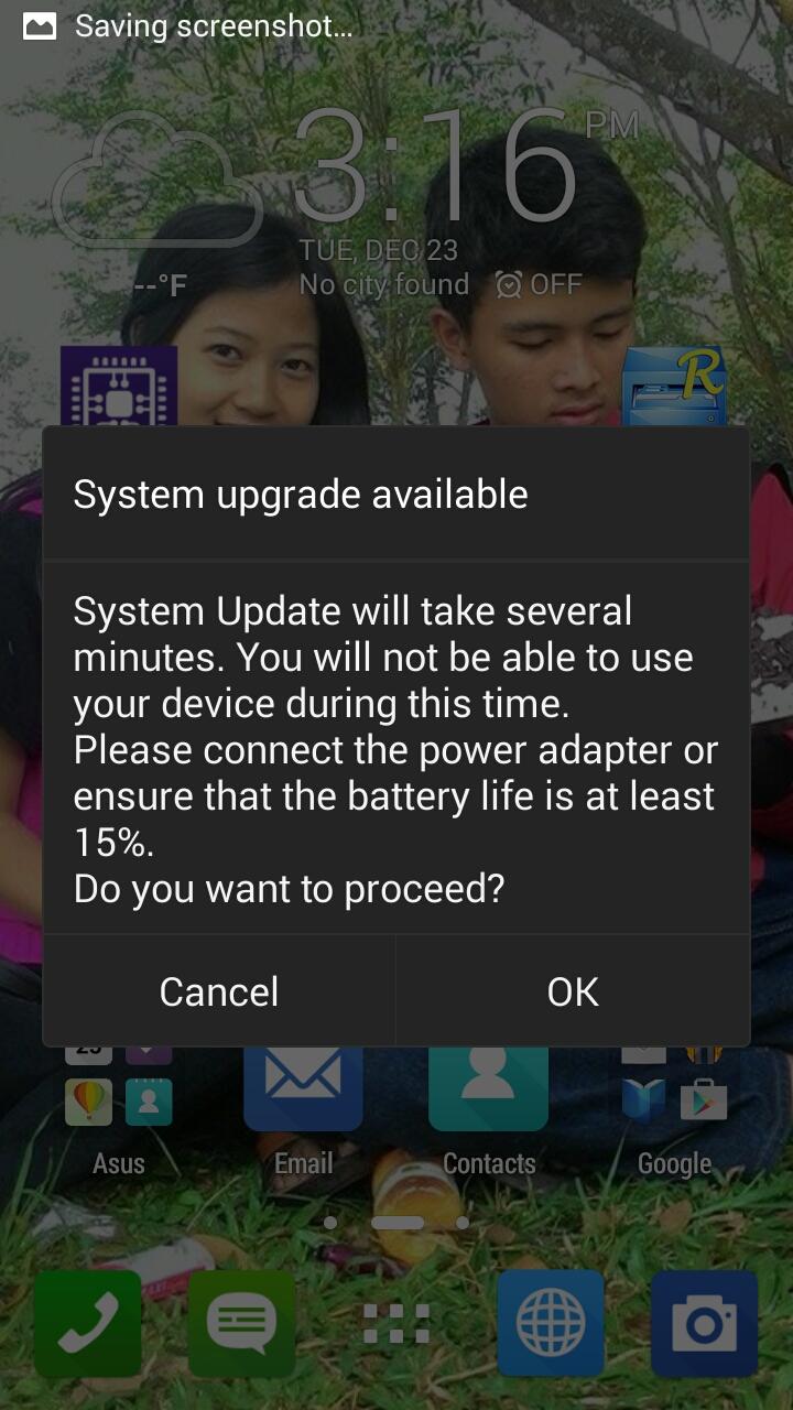 Jika sudah di tap OK Zenfone 5 akan Reboot dan meng Upgrade secara ...