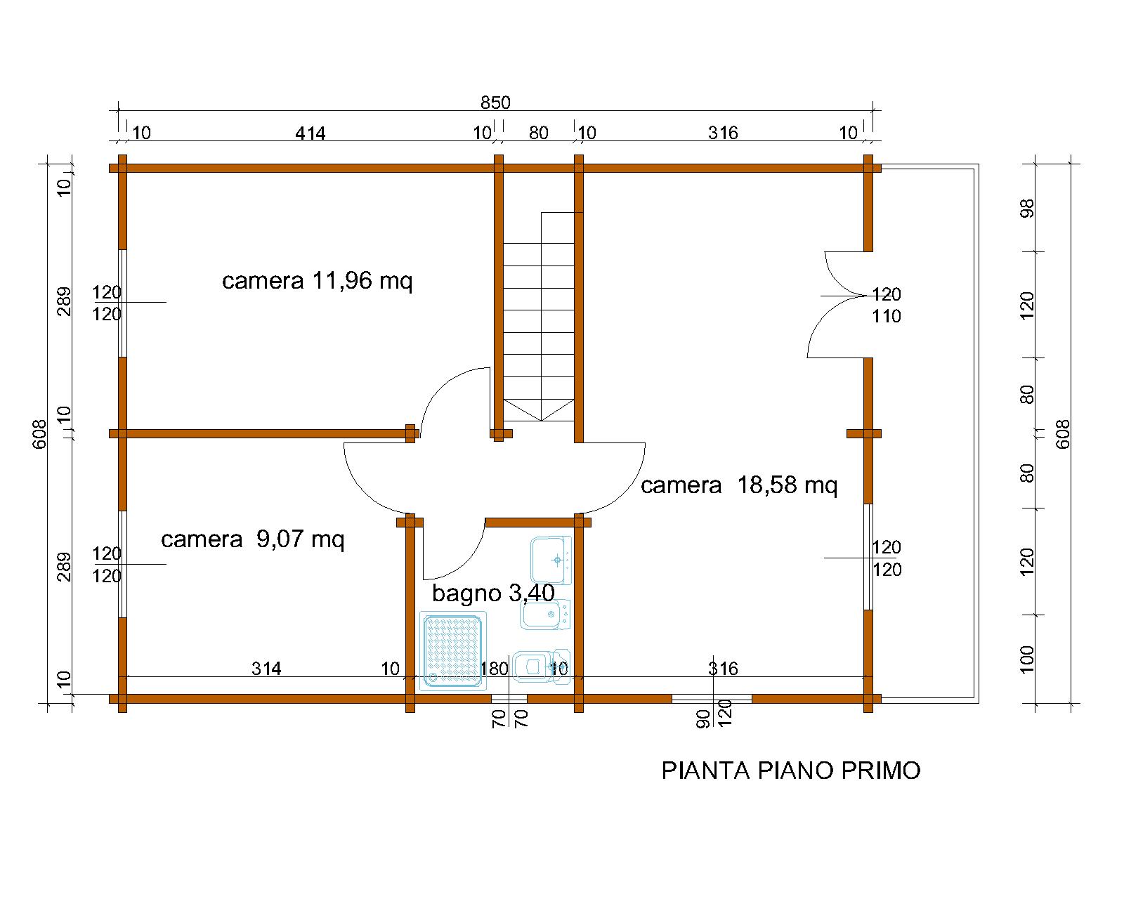 Progetti di case in legno casa a due piani 103 mq balcone for Piani di casa padronale inglese