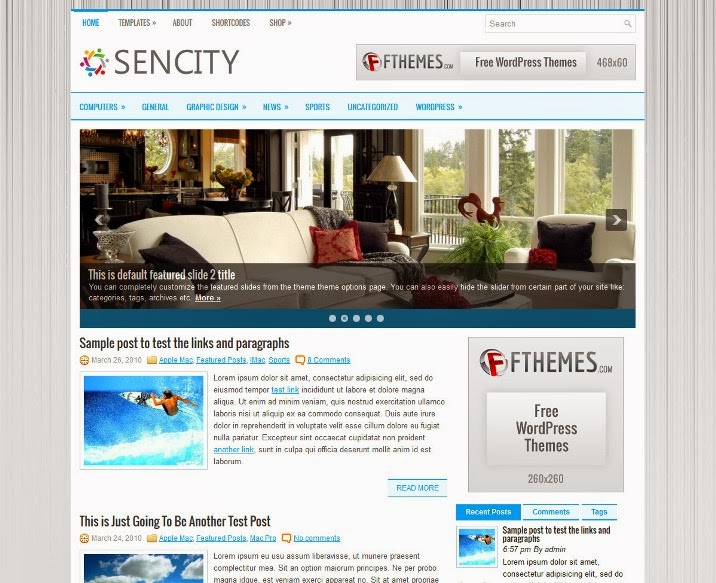 Sencity - Free WordPress Theme