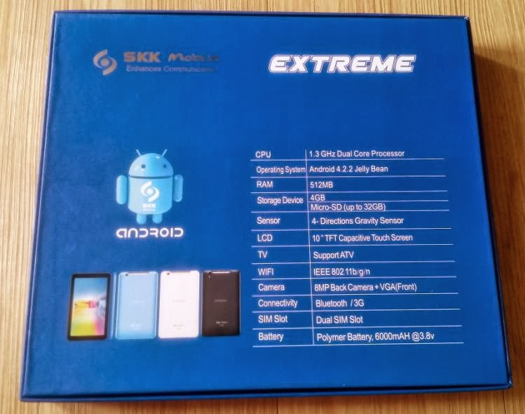 SKK Mobile Extreme Specs at the back