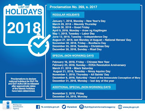 2018 Nationwide Holidays