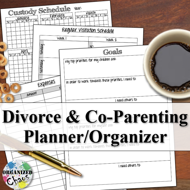 Mommy monday printable co parenting divorce planner for Co parenting calendar template