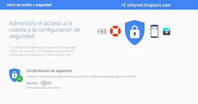 Acceder a la comprobación de seguridad de una cuenta de Google