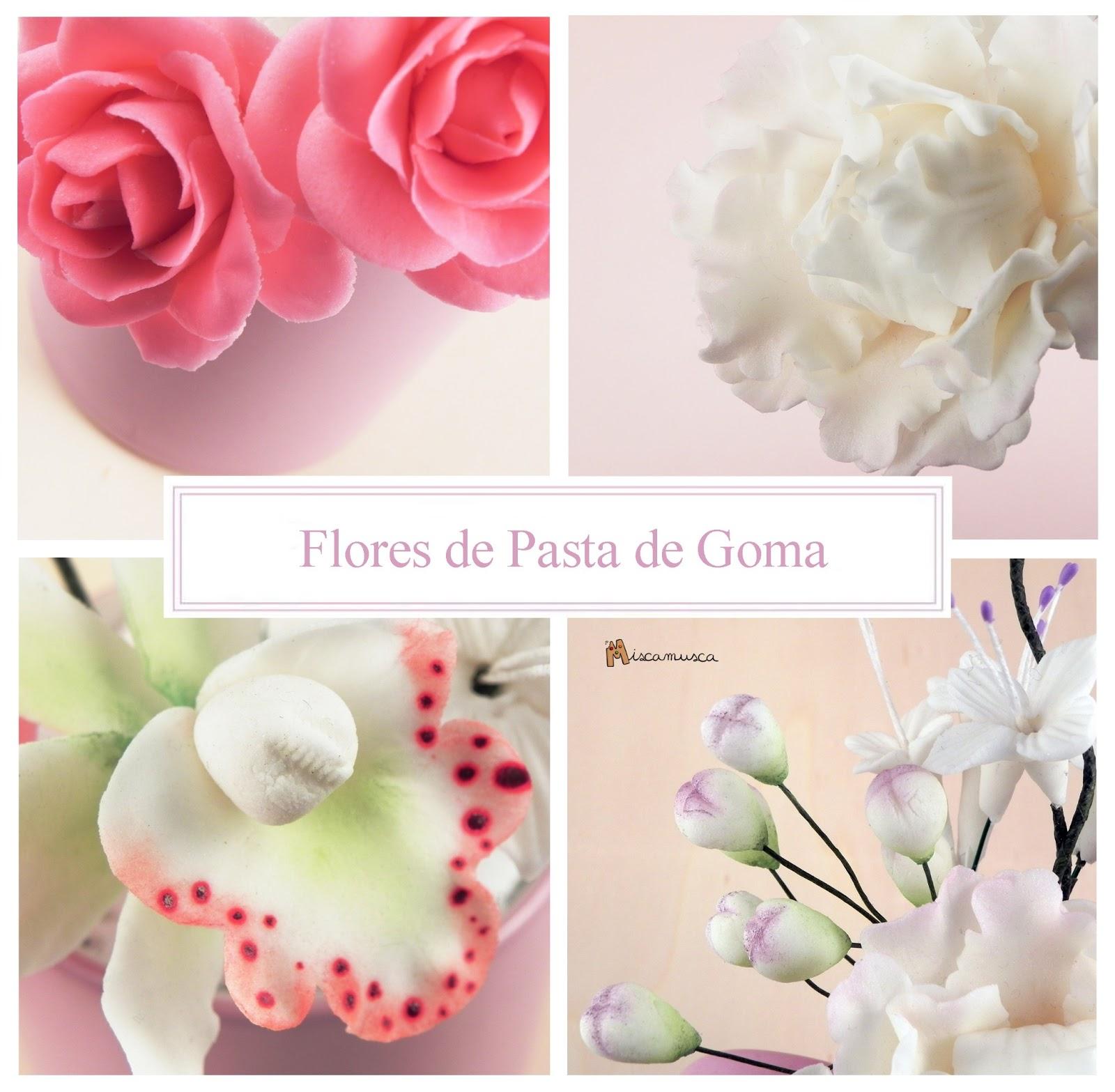 Flores de pasta de goma