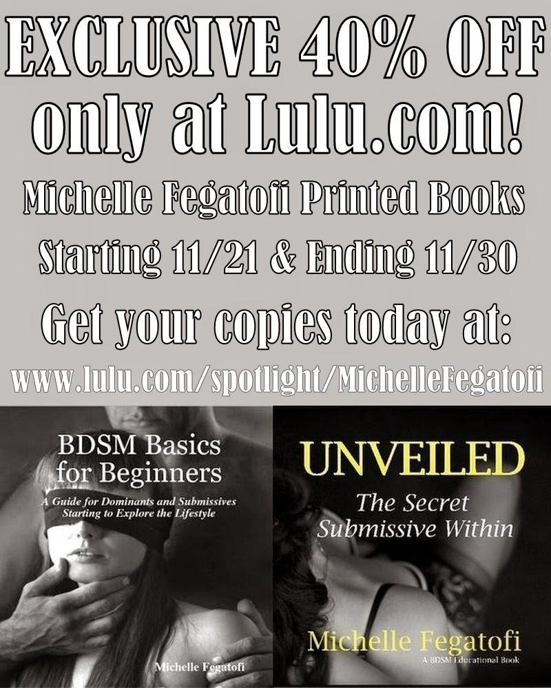 40% Off Sale on Michelle Fegatofi Printed Books @ Lulu.com! Begins 11/21 - Ends 11/30