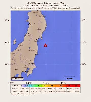 Sísmo 5,3 grados en Fukushima, Japón, 22 de Octubre 2013