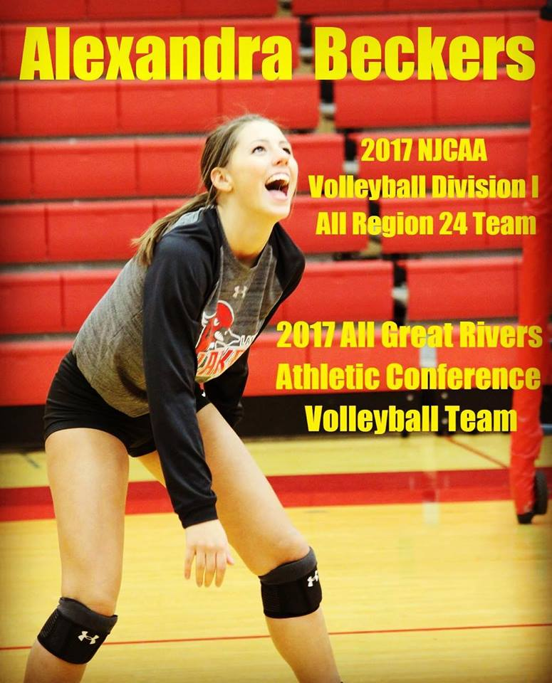 Alexandra Beckers - 2017 All Great Rivers Athletic Confernce; 2017 All NJCAA Division I Region 24