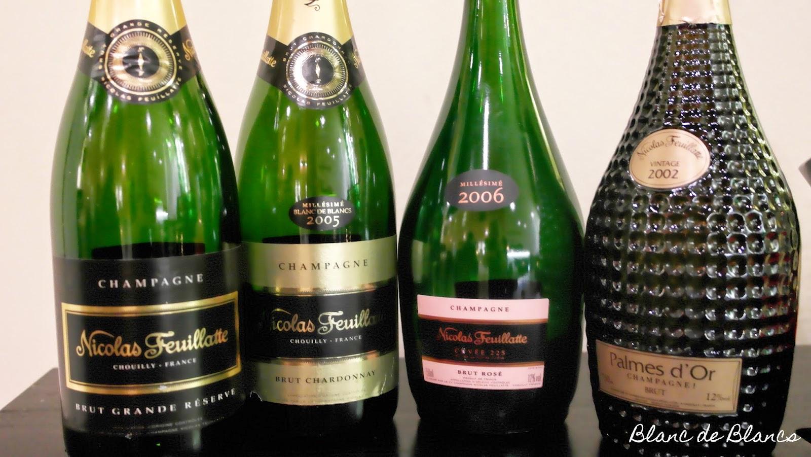 Nicolas Feuillatte Brut Grande Réserve, Brut Chardonnay 2005, Cuvée 225 Rosé 2006 ja Palmes d'Or 2002 - www.blancdeblancs.fi