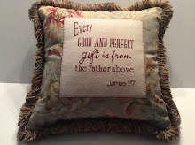 James 1:17 - grey floral linen (back is tan/grey stripe) - 16""