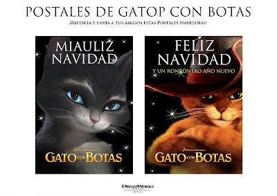 postalesB Postales Navideñas Gato con Botas