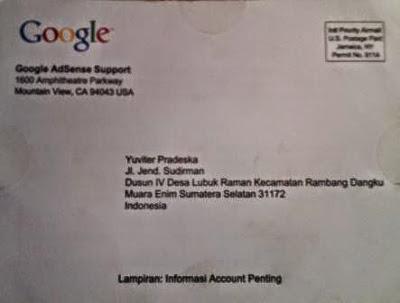 Gambar Surat Berisi Pin dari Google Adsense