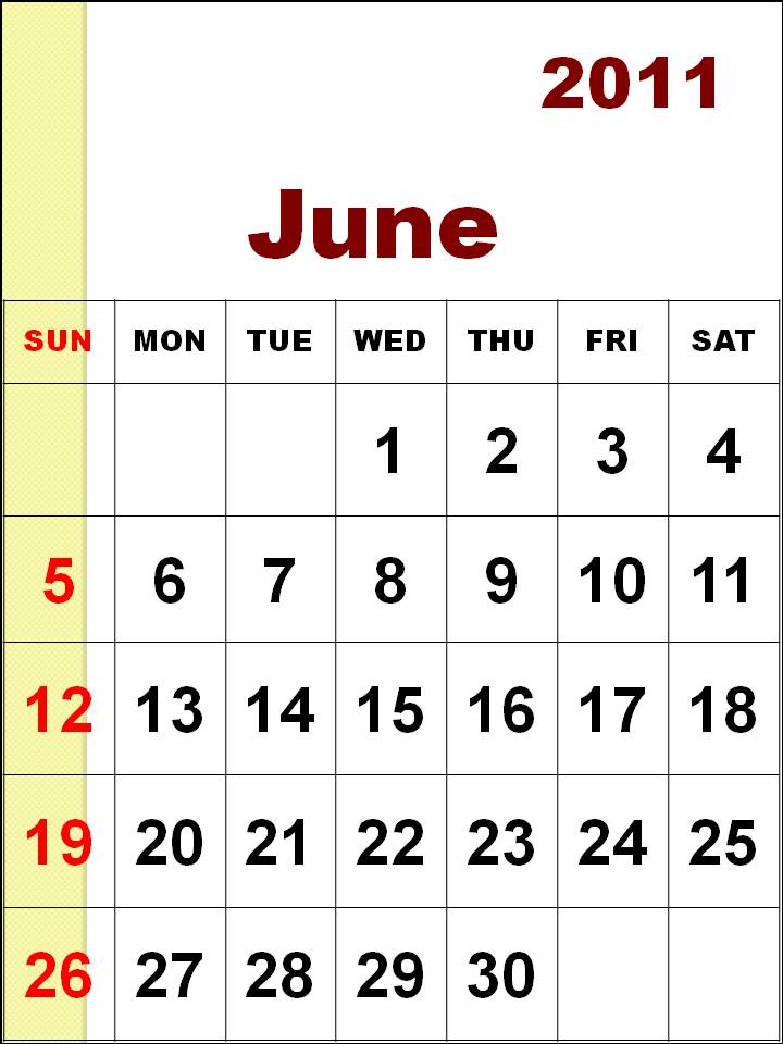 june calendar for 2011. monthly calendar 2011 june