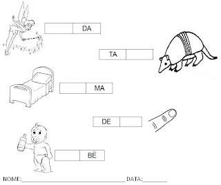 Atividade para Alfabetização - Complete a palavra com a sílaba 5