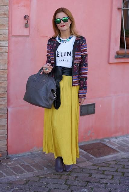 maxi skirt, ethnic print jacket, Urban Gypsy look, Fashion and Cookies, fashion blogger