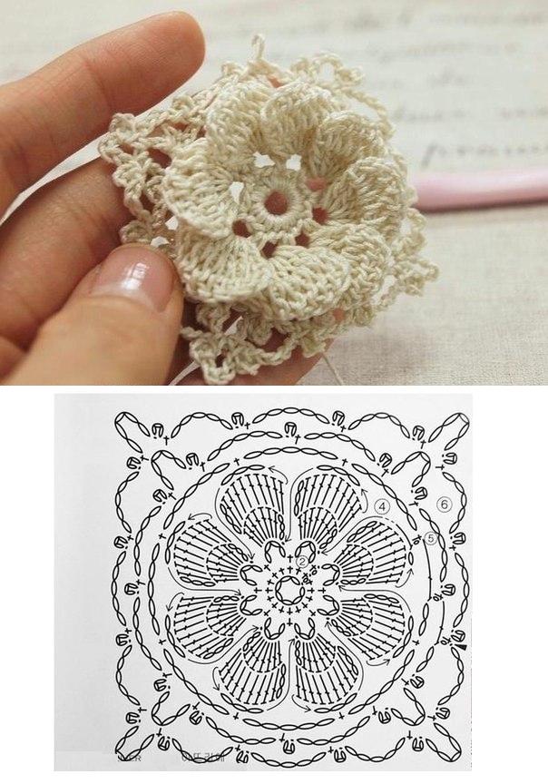 Мотив объемным цветком крючком