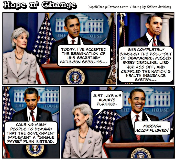 obama, obama jokes, obamacare, sebelius, resignation, hope n' change, hope and change, cartoon, stilton jarlsberg, conservative, tea party, health, insurance