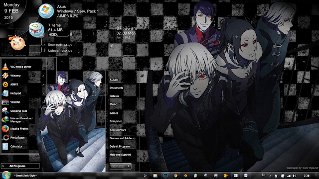 Tema Tokyo Ghoul 1.1 Windows 7 By Bazzh