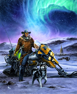lukas thelin, fenix, cover, kenneth hite, sci fi cowboy, motorcykle, once upon a time in the north, a man and his dog