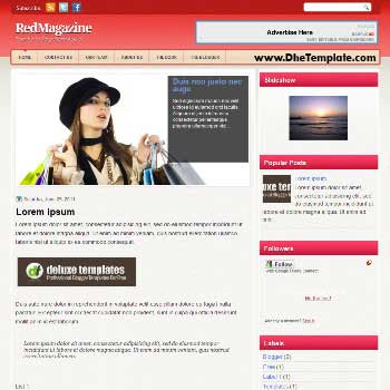 RedMagazine blogger template. magazine style template blogger. featured content blogger template.