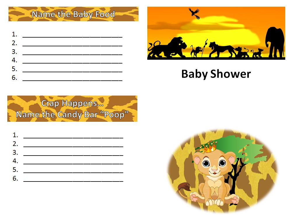Book Wine And Time Lion King Baby Shower