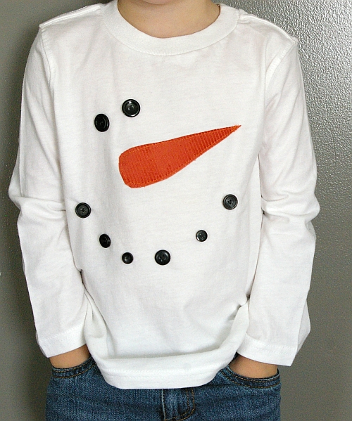 easy applique snowman jumper with carrot nose and buttons