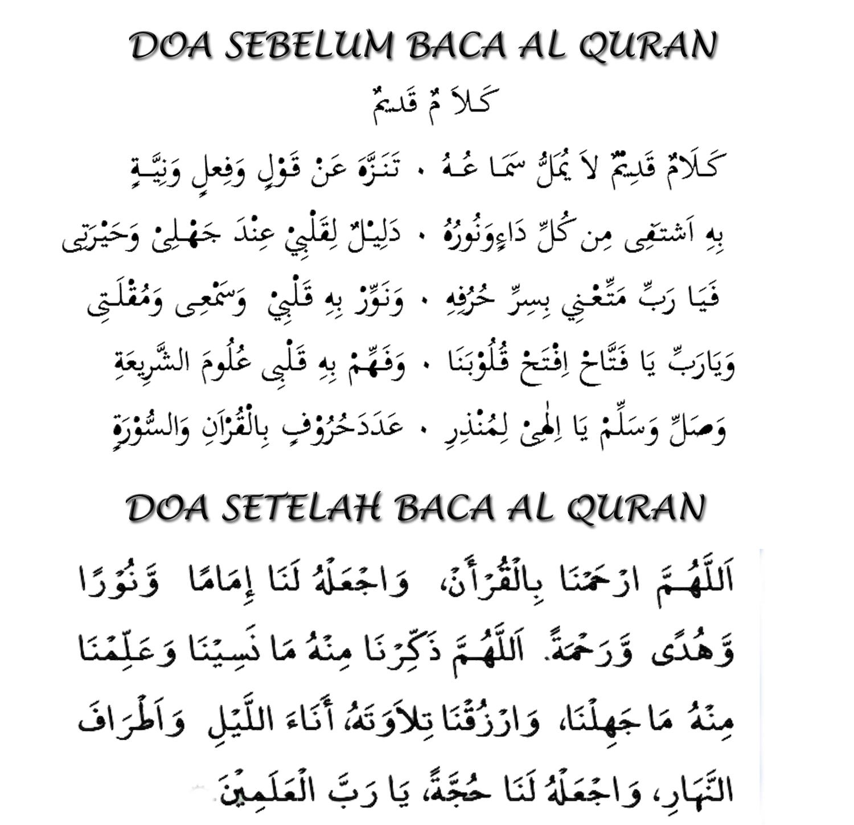 Doa Sebelum Dan setelah Baca Al-Quran