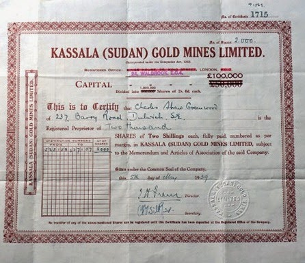 Kassala (Sudan) Gold Mines, certificate for 2,000 shares
