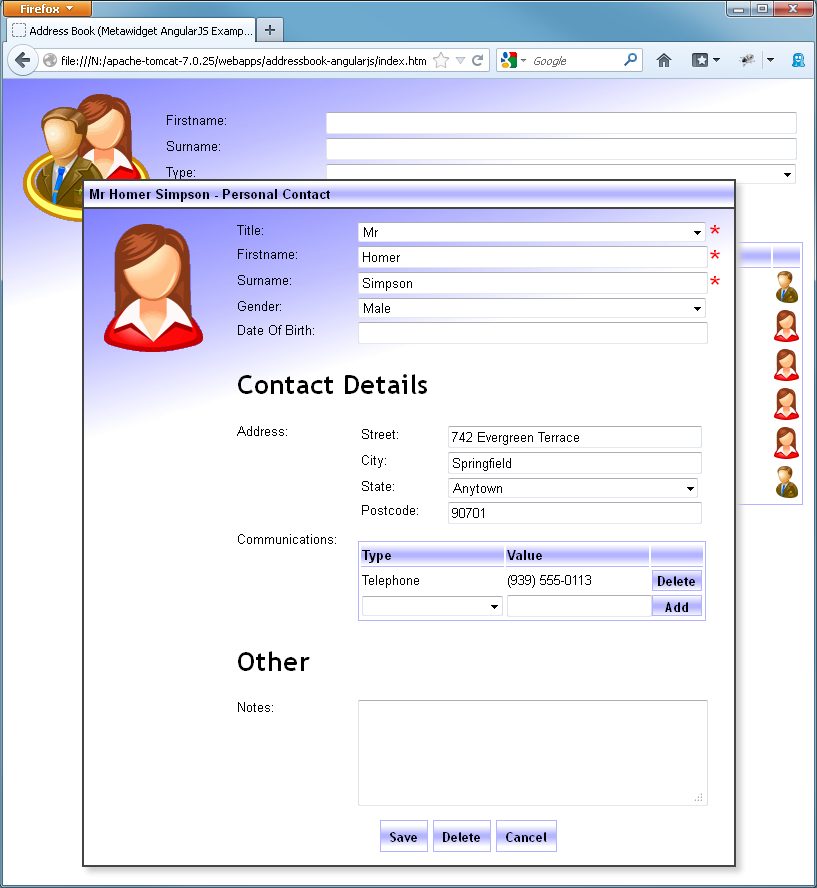 Metawidget meets JQuery UI and AngularJS – Address Book Example