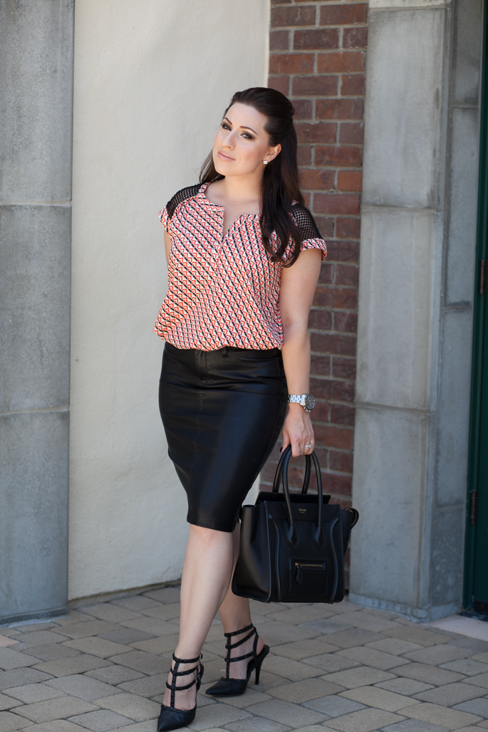 le tote geometric top, blank nyc leather pencil skirt, nars turkish delight, celine tote, timex watch