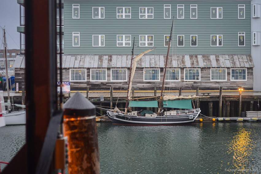 June 2015 Portland, Maine USA Sailing vessel in front of Maine Wharf new building. Photo by Corey Templeton.