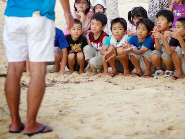 teacher with children on beach, turtle release