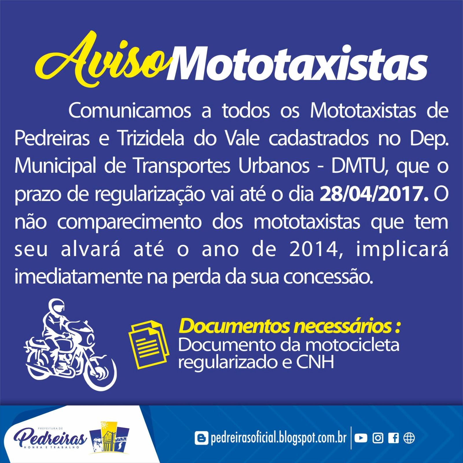 AVISO AOS MOTOTAXISTAS